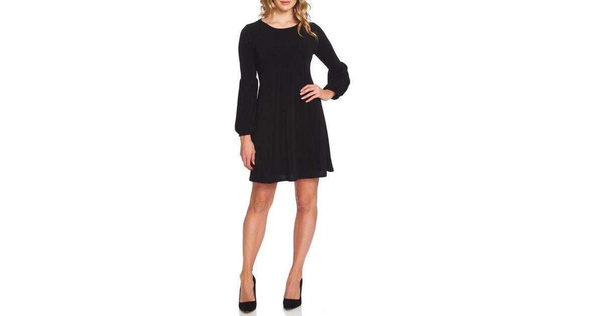85027c8ea8943 Lyst - Cece by Cynthia Steffe Bishop Sleeve A-line Knit Dress in Black