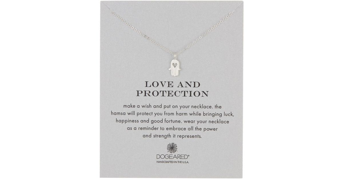 Dogeared - Metallic Sterling Silver Love & Protection Heart Hamsa Necklace  - Lyst