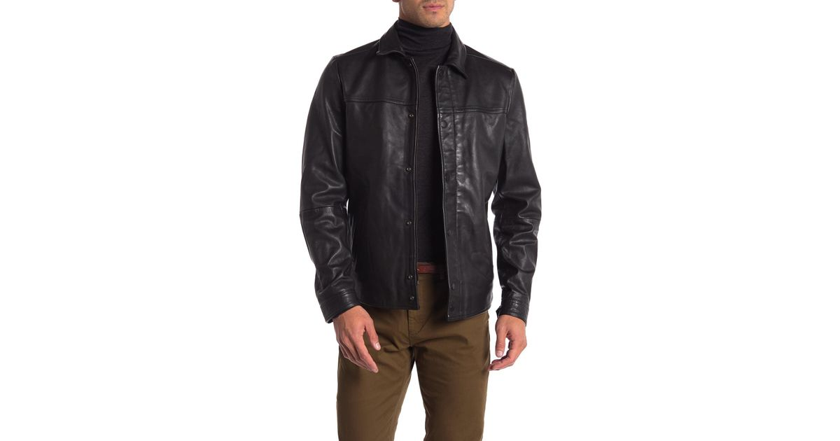1b489ba4a Scotch & Soda - Black Premium Lightweight Leather Shirt Jacket for Men -  Lyst