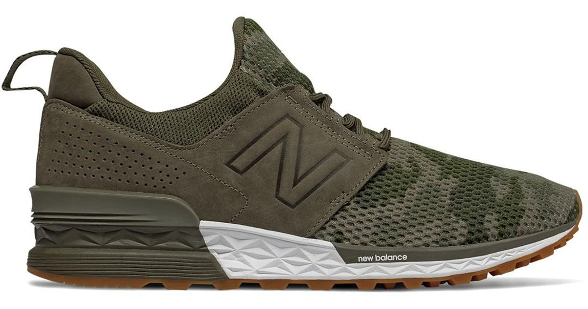New Balance Green Lace up 574 Sport Decon Sneaker for men