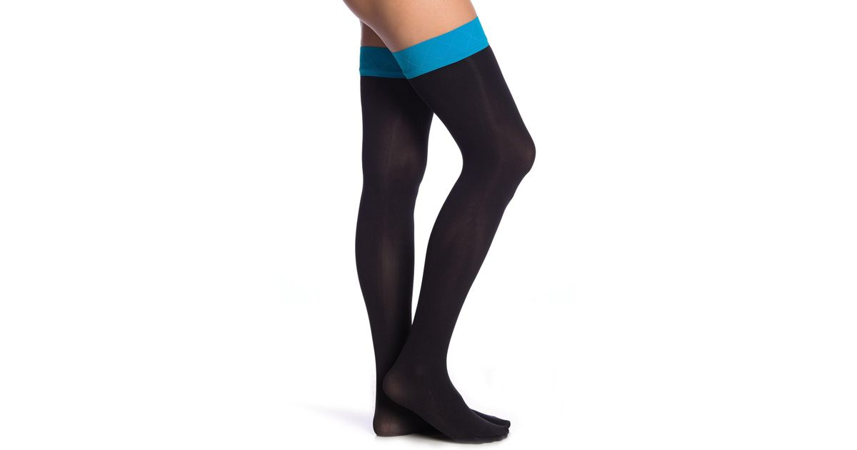 9375bcf0f96 Lyst - Pretty Polly Opaque Top Over The Knee Socks in Blue