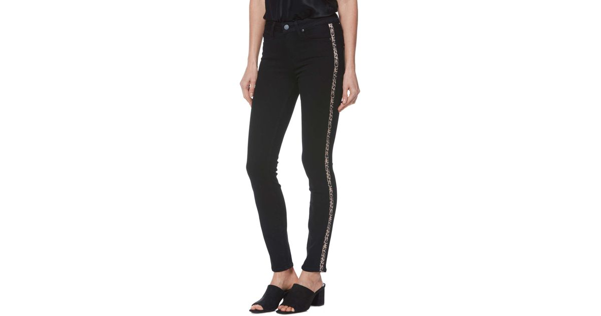 4fd8d183fcc1 PAIGE Transcend - Hoxton High Waist Ankle Skinny Jeans (black Shadow With  Leopard Stripe) in Black - Lyst