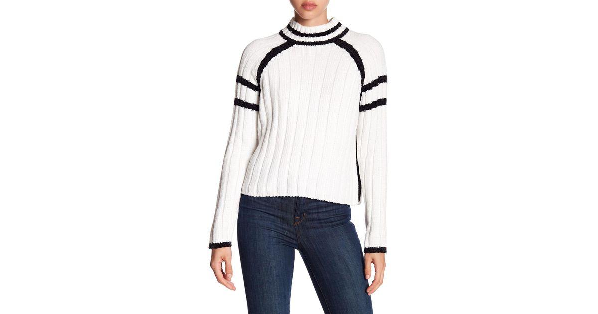 736a68523 Lyst - John + Jenn Mock Neck Chenille Sweater in White