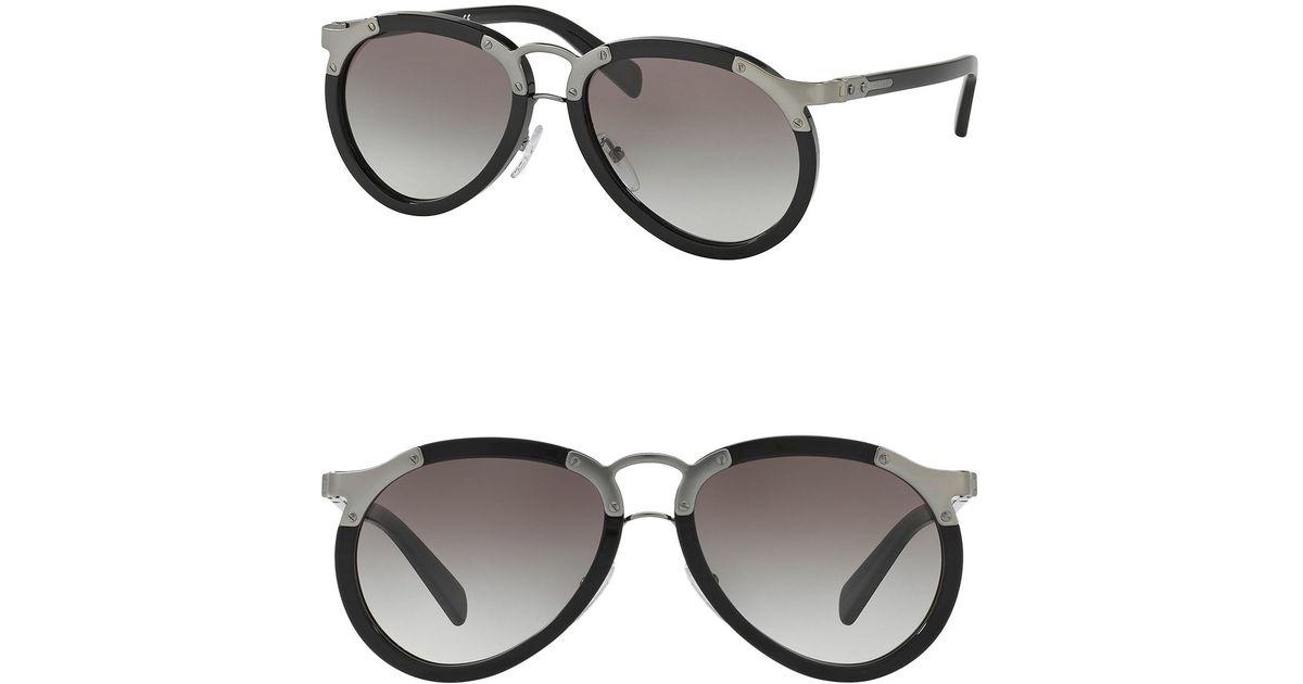 a9efd13523e3 Lyst - Prada Catwalk 56mm Pilot Sunglasses in Black for Men