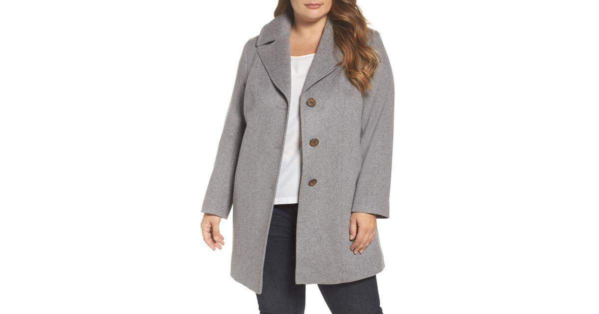 3dbc372de2355 Lyst - Fleurette Wool Walking Coat (plus Size) in Gray