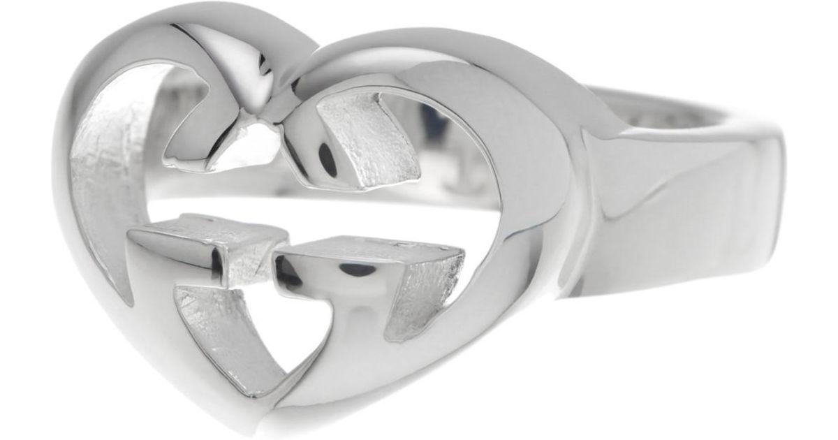 65c53739110 Lyst - Gucci Sterling Silver Love Britt Ring - Size 8.25 in Metallic
