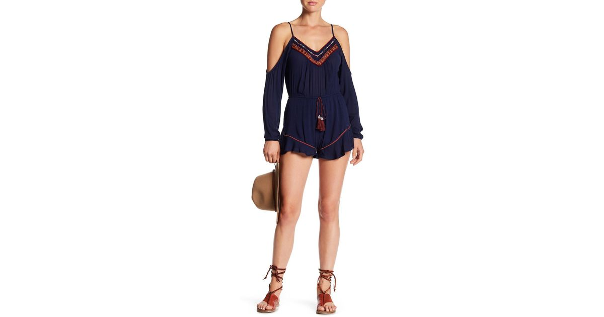 1ff357face1c Lyst - Band Of Gypsies Embroidered Cold Shoulder Romper in Blue