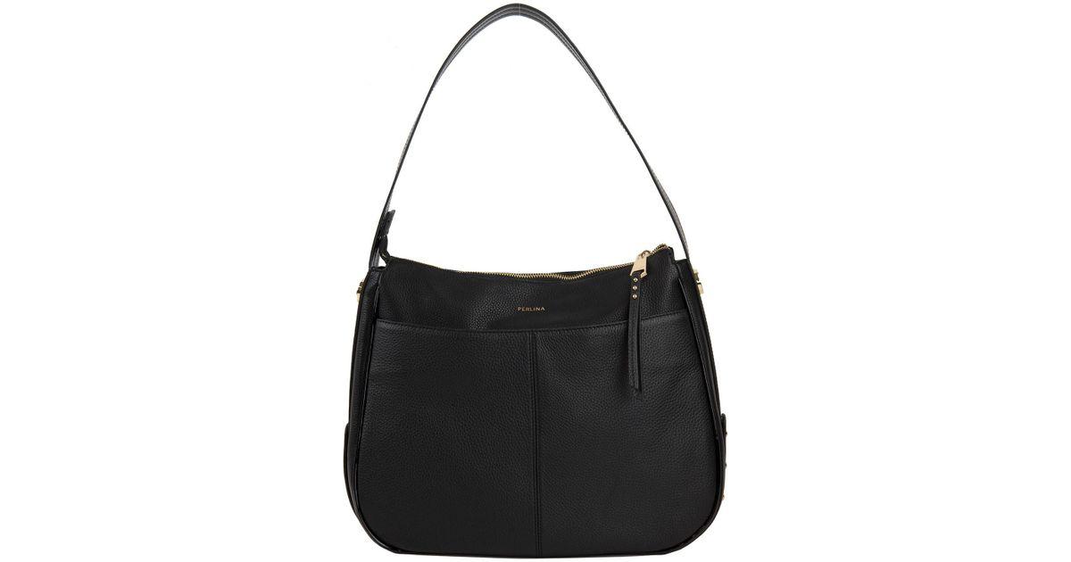 1405f8fd72 Lyst - Perlina Krista Leather Hobo Bag in Black