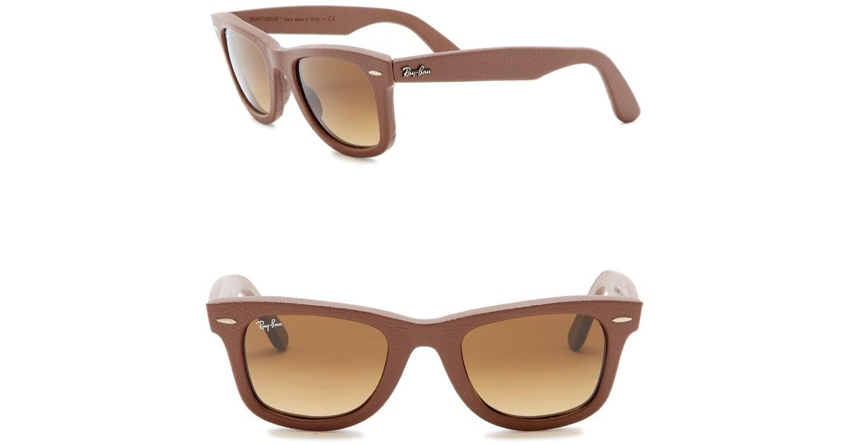 2d3464d5772 Lyst - Ray-Ban 50mm Leather Wayfarer Sunglasses in Brown for Men