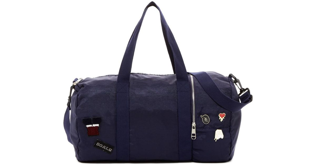 043fce055d78 Lyst - Madden Girl Pledge Grosgrain Patched Duffle in Blue
