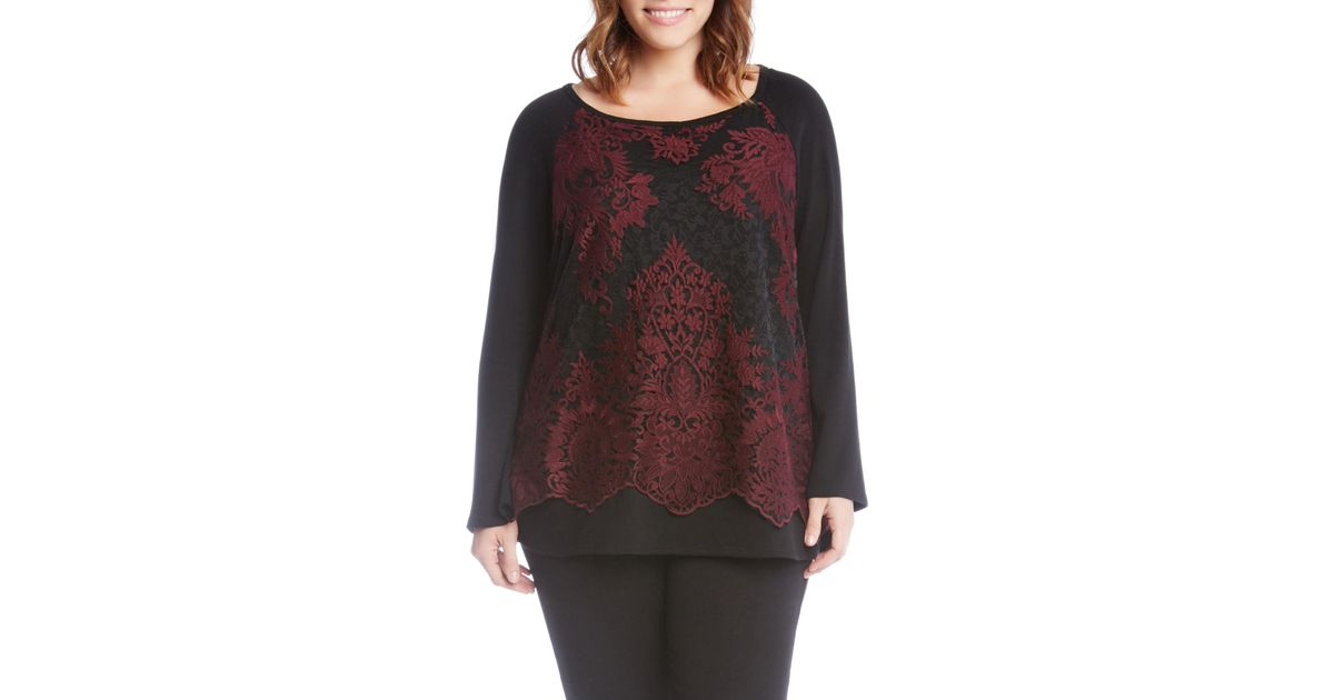 aed8d476263bd Lyst - Karen Kane Lace Overlay Jersey Top (plus Size) in Black