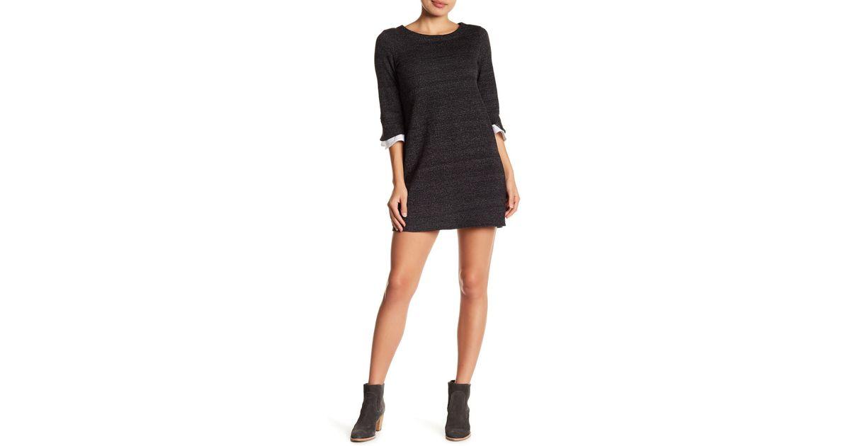 Lyst Bobeau Speckled Fleece Lined Sweater Dress Petite In Black