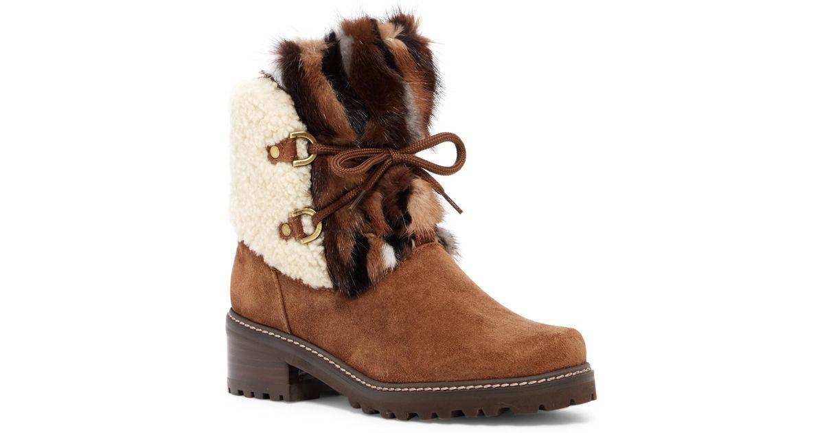 25073227b45 Lyst - Stuart Weitzman Furnace Genuine Shearling   Genuine Mink Boot in  Brown