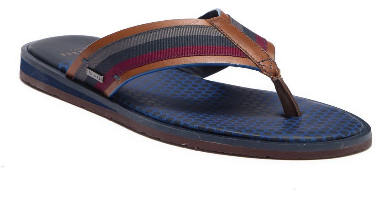 6ba2863b0c7a30 Lyst - Ted Baker Knowlun Leather Flip-flop for Men