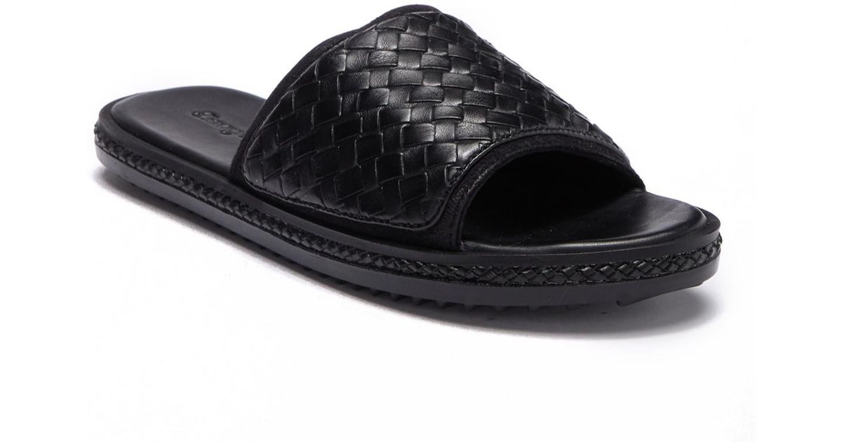 22f055a81074e8 Lyst - Tommy Bahama Land Crest Leather Slide Sandal in Black for Men