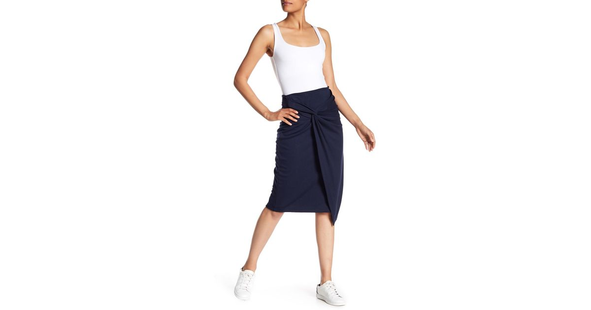 42360a324 Gibson Ponte Twist Front Skirt in Blue - Lyst