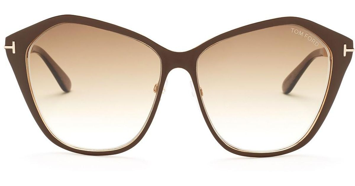 1c92aef96c Lyst - Tom Ford Women s Lena Angled Cat Eye Sunglasses in Brown