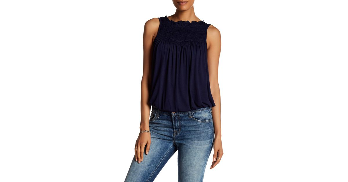 5d8945cec5096 Lyst - Max Studio Pleat Yoke Bubble Hem Tank in Blue