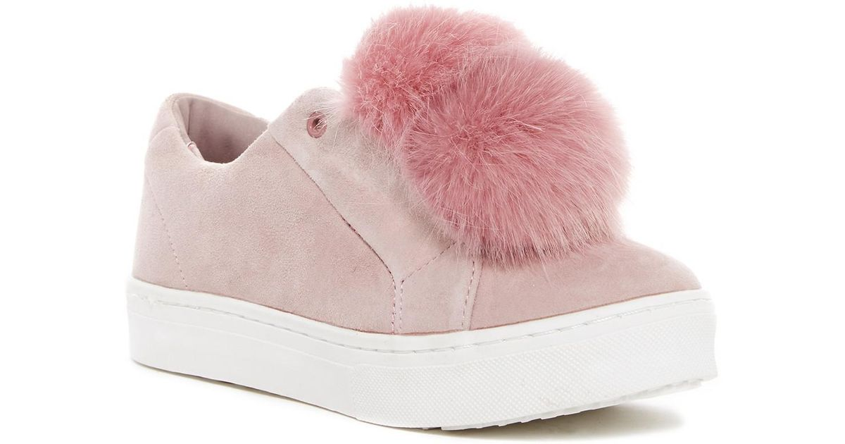 4746f0333c1f61 Lyst - Sam Edelman Leya Faux Fur Laceless Sneaker in Pink - Save 33%