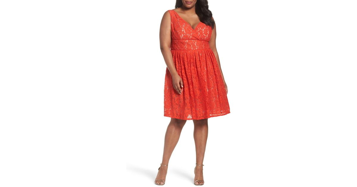 Lyst Adrianna Papell Lace Fit Flare Dress Plus Size In Red