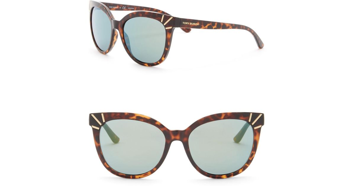 650d09792ee0 Lyst - Tory Burch 56mm Mirrored Cat Eye Sunglasses in Brown