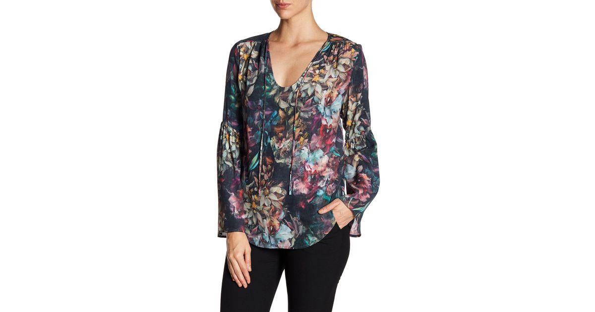 Karen Kane Floral Bell Sleeve Top Visa Payment Sale Online fmrcN