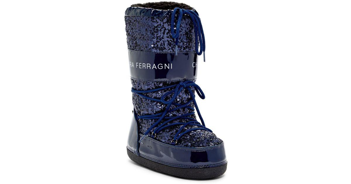 54c3c35eb22efc Lyst - Chiara Ferragni Lace-up Sequin Boot in Blue