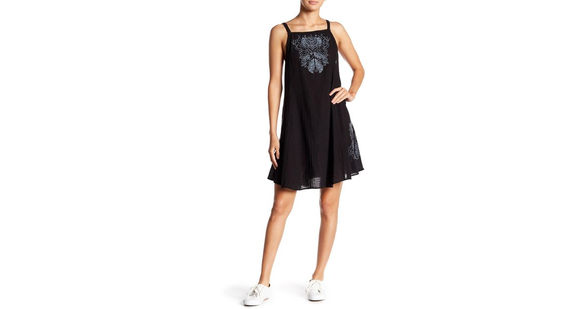 6928749c13612 Free People Tulum Cutwork Embroidered Slip Dress in Black - Lyst