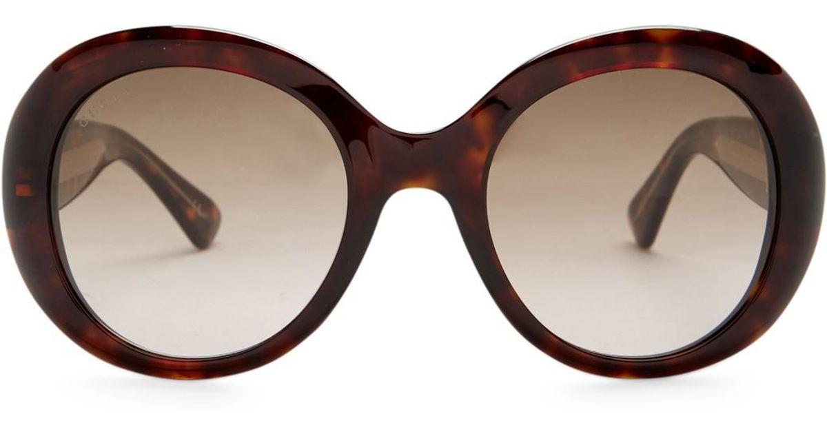 c84304c37ec Lyst - Gucci Women s Oversized Round Acetate Frame Sunglasses in Brown