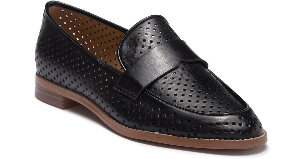 007cc75f86a Lyst - Franco Sarto Hudley Perforated Leather Loafer in Black