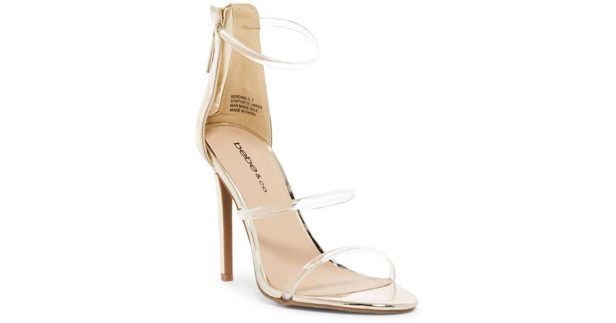 aff4de1a0d3 Lyst - Bebe Berdine Strappy Stiletto Sandal in Metallic