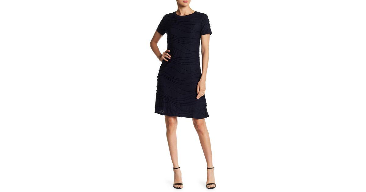 Lyst - Joe Fresh Wavy Short Sleeve Dress in Blue a02fcb8d4