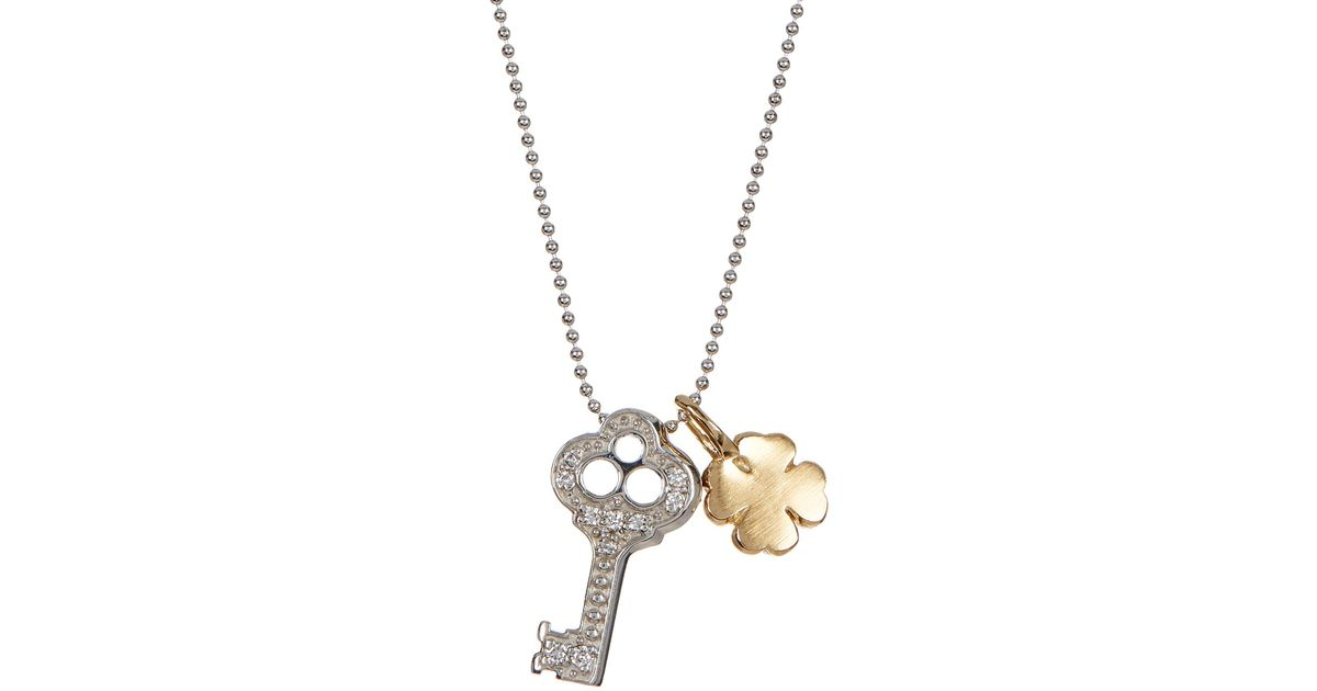 Lyst - Alex Woo 14k White Gold Little Luck Diamond Key Pendant ...