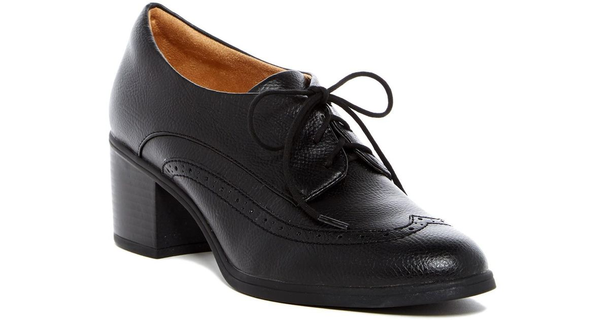 58e9116cf787 Lyst - Naturalizer Herlie Heeled Wingtip Oxford - Wide Width Avaialble in  Black