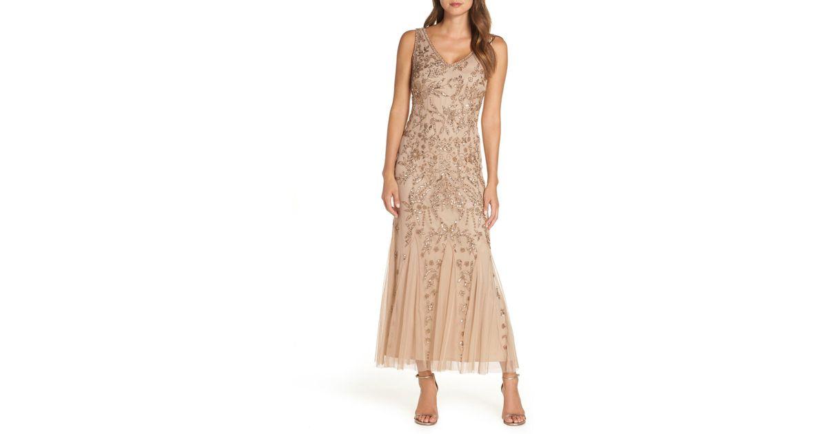 0b07dce487e Lyst - Pisarro Nights Embellished Mesh Gown (regular   Petite)
