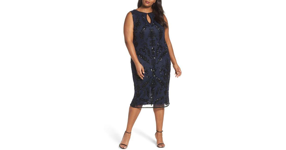Lyst Pisarro Nights Embellished Tea Length Sheath Dress Plus Size