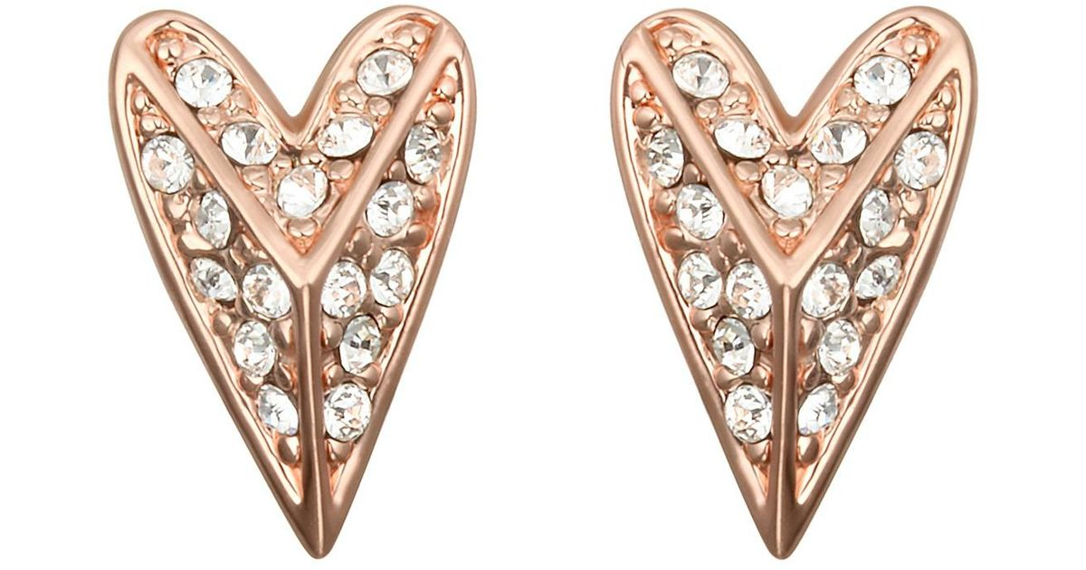 1f7b460fe Karl Lagerfeld Rose Gold Plated Pave Swarovski Crystal Accented Pyramid  Heart Stud Earrings in Metallic - Lyst