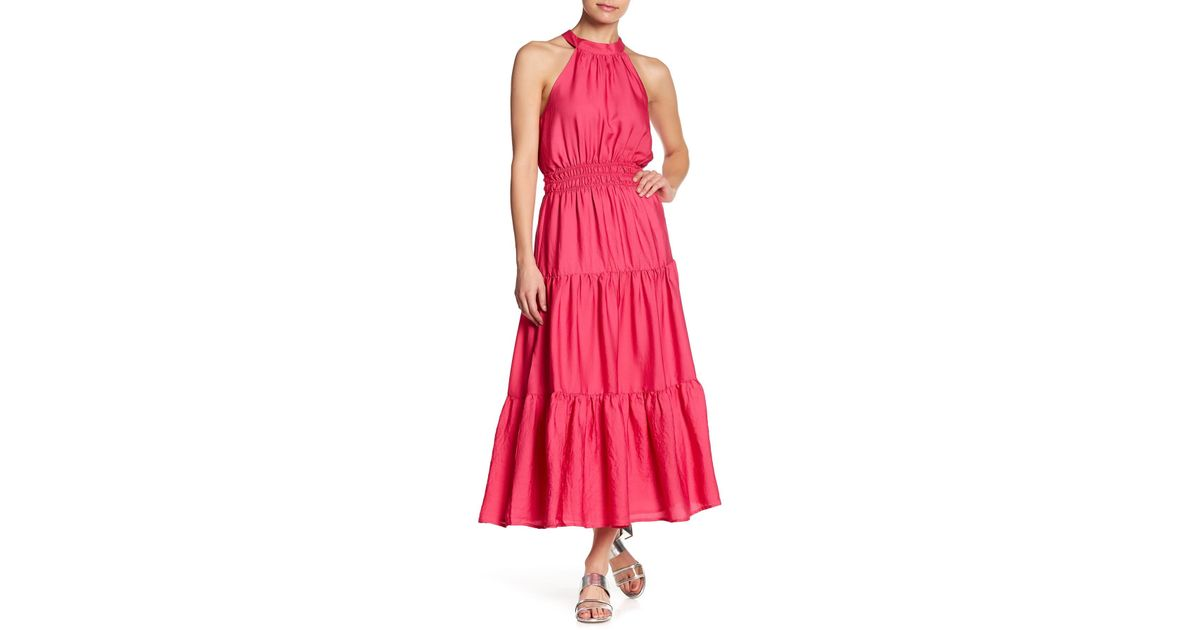 Lyst - Lost + Wander Tiered Woven Maxi Dress in Pink