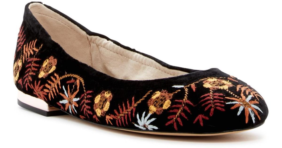 Sam Edelman Farrow Embroidered Velvet Ballerina Flat