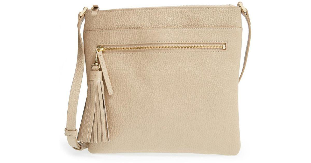 fce60f51d91244 Halogen (r) Tasseled Leather Crossbody Bag in Natural - Lyst
