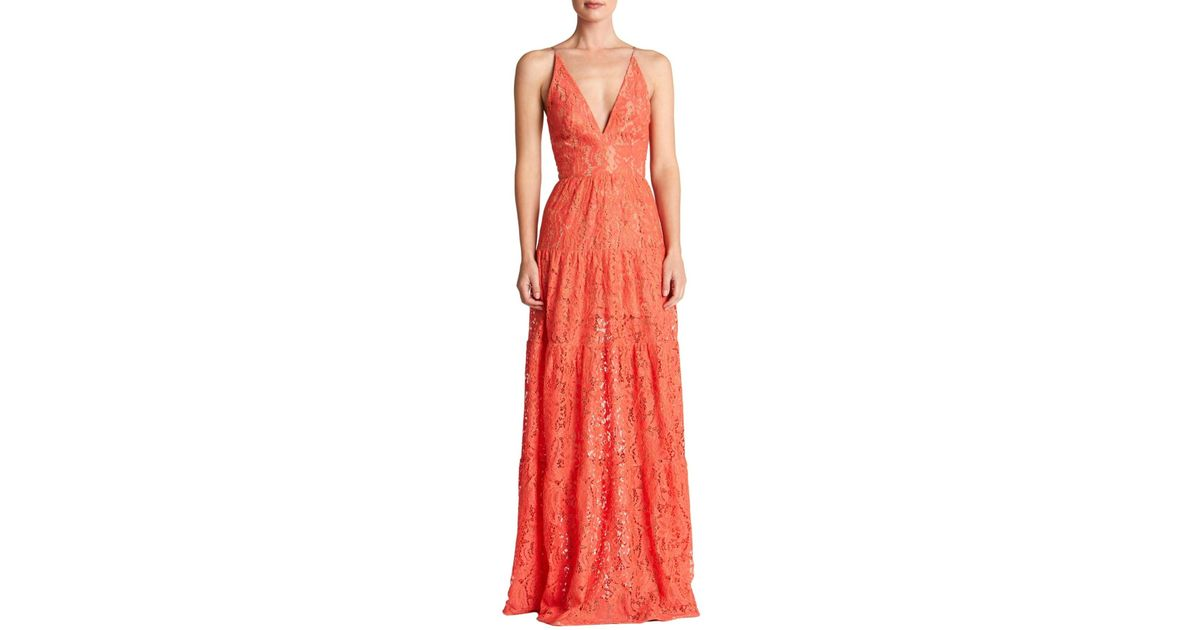 eb36391bb6 Dress the Population Melina Lace Fit & Flare Maxi Dress in Red - Lyst