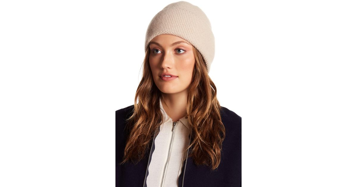 0abf4c06b21 Lyst - Portolano Cashmere Honeycomb Texture Beanie in Natural