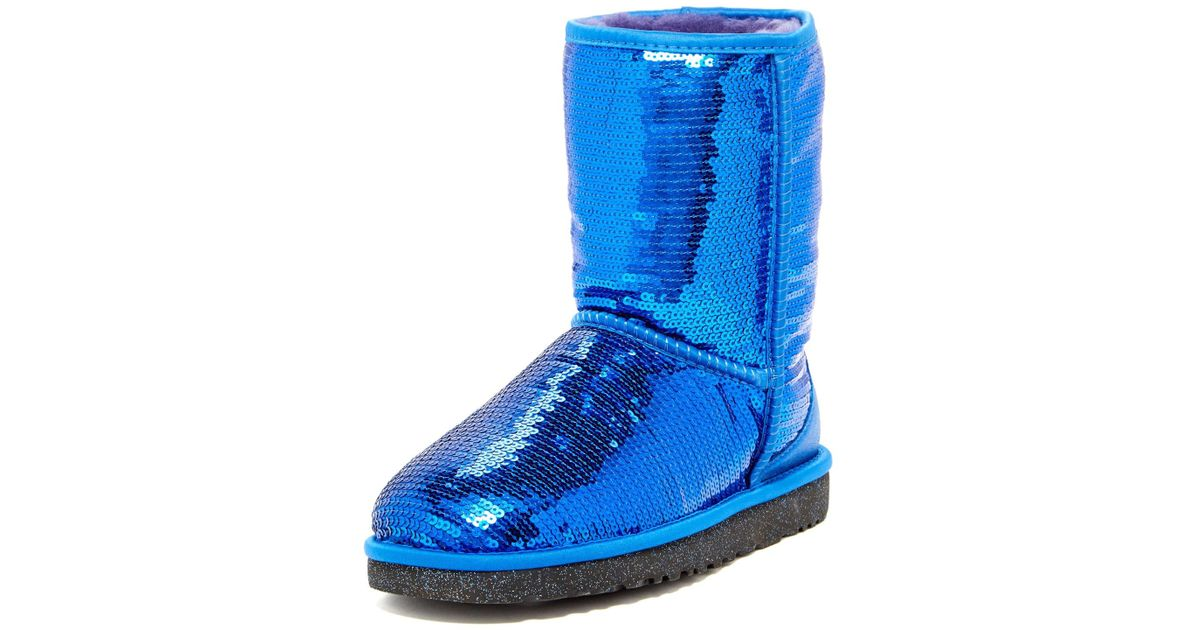 68c9e186c6ce UGG Classic Short Sparkle Genuine Shearling Boot in Blue - Lyst