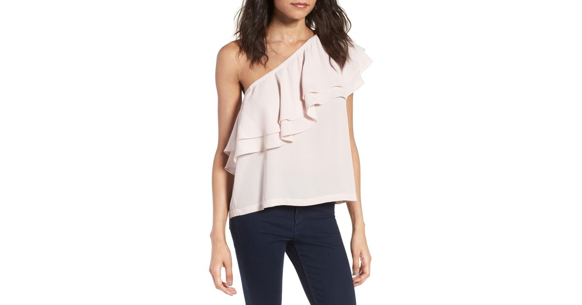 f6b7a5cf87814c Lyst - Chelsea28 Ruffle One-shoulder Crepe Top in Pink