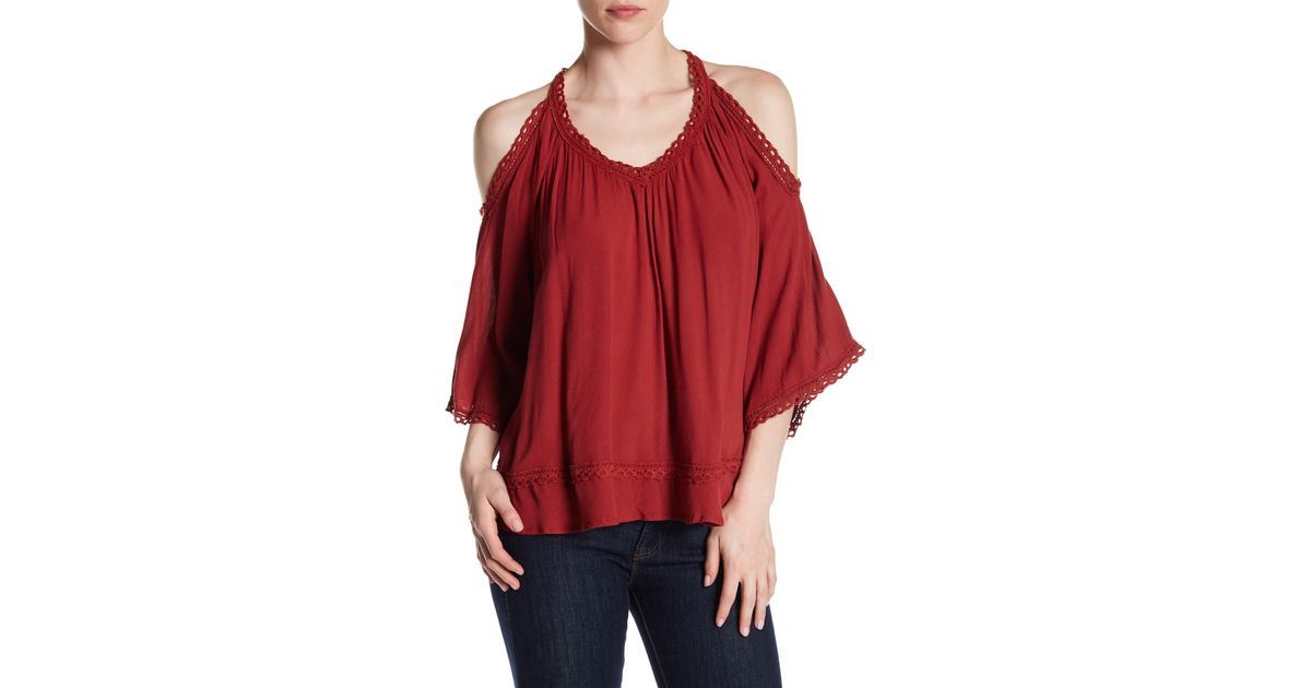 3b0af22a38bcb Lyst - Dex Cold Shoulder Crochet Blouse in Red