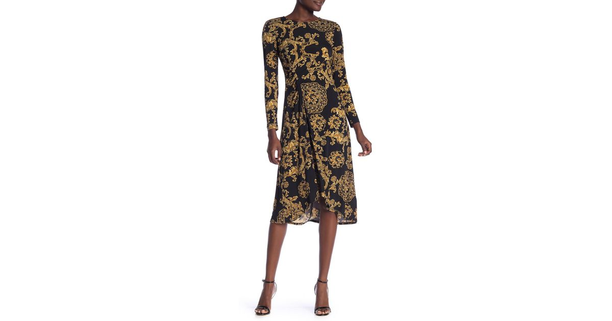 44ce5497 Lyst - Donna Morgan Patterned Ruched Hi-lo Dress in Black