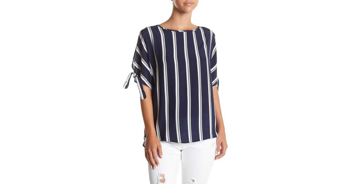 338bd86288d1e Lyst - Dex Stripe Cold Shoulder Blouse in Blue