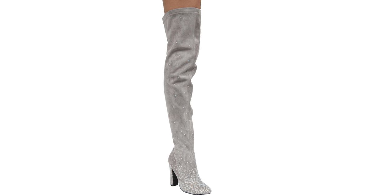 38946ff6905 Lyst - Cape Robbin Elise Suede Rhinestone Embellished Over-the-knee Boot in  Gray
