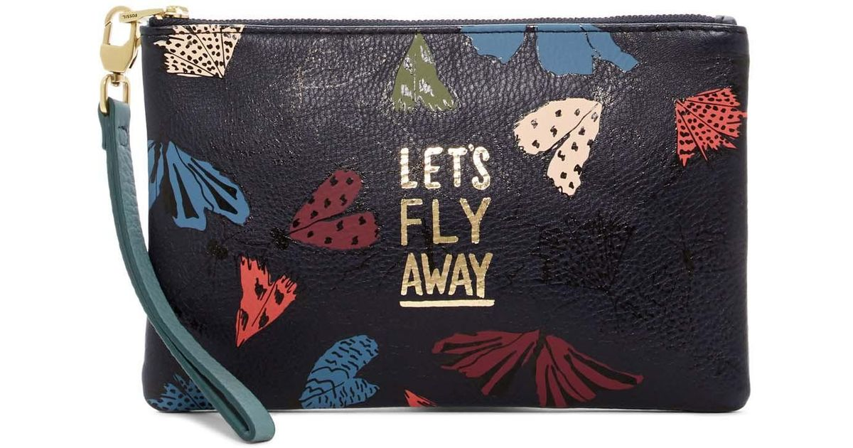 lyst fossil let s fly away leather pouch in blue