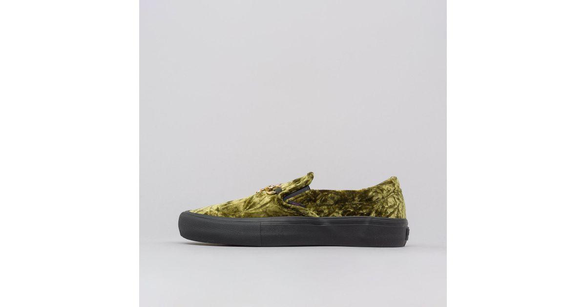 b5821af41d Lyst - Vans Slip-on Needles Crush Velour Green in Green for Men - Save 60%